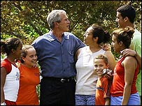 President Bush meets hurricane victims