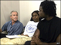 President Bush meets hurricane victims