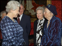 The Queen met Lena Lakomy (r) at the St James' Palace reception