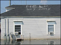 A flooded house in New Orleans