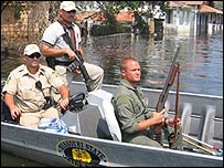 US marines on patrol in New Orleans
