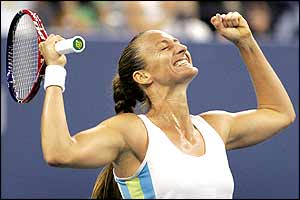 Mary Pierce celebrates her victory in New York