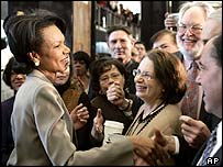 Condoleezza Rice greets state department staff