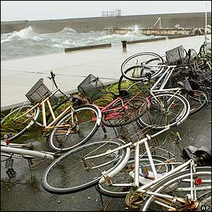 Bicycles have been pushed over by strong winds at a ferry port in Kagoshima, 05 September 2005