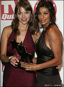 Kate Ford and Shobna Gulati pose with the award for Best Soap