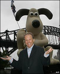 Nick Park with inflatable Gromit