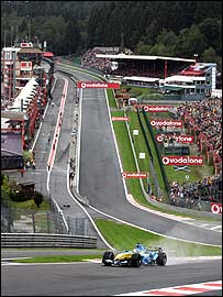 Fernando Alonso blasts through Eau Rouge at last year's Belgian Grand Prix