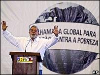 Brazil's President Luiz Inacio Lula da Silva speaking in Porto Alegre