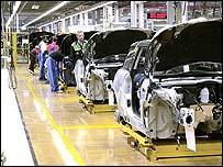 Production line at BMW's Mini factory in Cowley