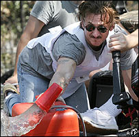 Sean Penn had to bail water from his rescue boat