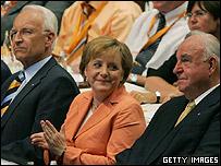 Edmund Stoiber, Angela Merkel and Helmut Kohl