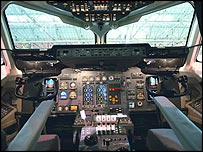 Flight deck of a commercial jet
