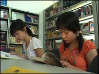Students in Chinese library