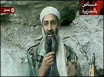 Osama Bin Laden appears on Arabic TV station al-Jazeera
