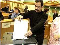 Abdul Kraish votes at the Glasgow polling centre