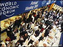 Delegates at a buffet in Davos