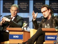 UK prime minister Tony Blair and pop star Bono in Davos