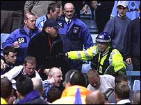Riot police at Coventry v Portsmouth match in 2001