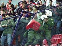 Fans at Nea Smirni stadium in Athens on 9 January