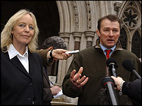 Baroness Mallalieu and Simon Hart of the Countryside Alliance outside the court