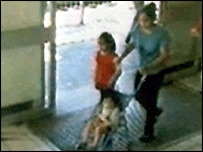 CCTV images on Navjeet Sidhu and her two children entering Southall station