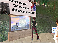 Screengrab of the Second Life memorial (courtesy of New World Notes)