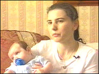 Lesley Gutteridge with her baby James
