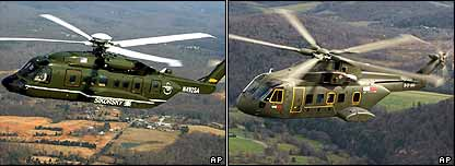 Sikorsky's VH-92 Super Hawk and Lockheed's US101 helicopter