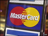 MasterCard symbol in shop window