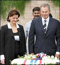 Cherie and Tony Blair at the Gandhi memorial in Delhi