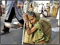 An elderly woman beggar in Dhaka, Bangladesh