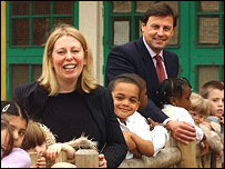 Head teacher Carol Powell and Philip Bujak, Montessori chief executive, with Gorton Mount Primary School pupils - courtesy of Montessori St Nicholas Centre