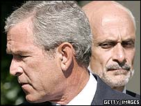 President George W Bush with Homeland Security chief Michael Chertoff