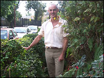 Donnachadh McCarthy in his front garden