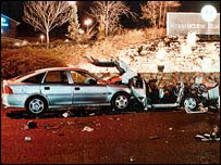 Scene of car crash