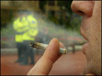 Cannabis being smoked before a demonstration against cannabis laws