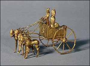 Gold model chariot from the Oxus treasure. Achaemenid Persian, 5th-4th century BC. From the region of Takht-i Kuwad, Tadjikistan. � British Museum