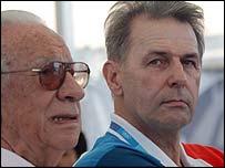 Past and present IOC presidents Juan Antonio Samaranch and Jacques Rogge