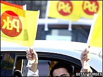 A man hold Kurdistan Democratic Party (KDP) in Irbil, Iraq