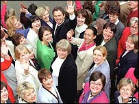Female Labour MPs with Tony Blair after the 1997 election