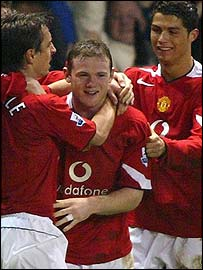 Wayne Rooney (centre) celebrates scoring against Middlesbrough in the FA Cup