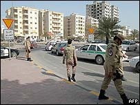 Kuwaiti security forces on patrol on Saturday 29 January