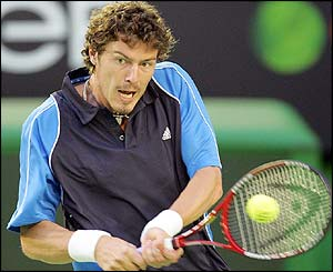 Russia's Marat Safin looks troubled in the first set