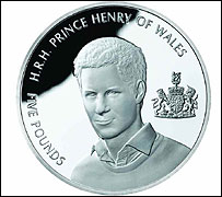 Prince Henry Alderney £5 brilliant uncirculated coin