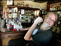 A patron sits in One Eyed Jack's bar, one of at least two bars in the French Quarter open in the aftermath of Hurricane Katrina