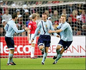 Kenny Miller scores Scotland's second goal against Norway