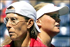 Martina Navratilova and doubles partner Anna-Lena Groenefeld