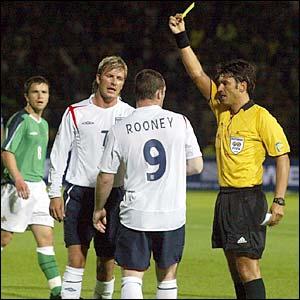 Wayne Rooney is booked