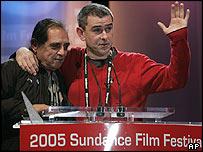 Winning British director Sean McAllister (r)
