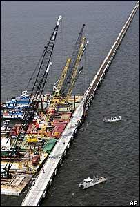 Damaged rail bridge over Pontchartrain, between New Orleans and Slidell